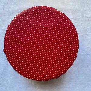 Charlotte tissu ciré rouge pois blancs M