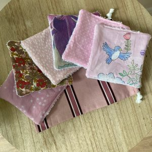 Lot 6 lingettes lavables + sac S